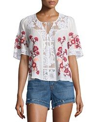 For Love And Lemons Isabella Lace Inset Embroidered Top White