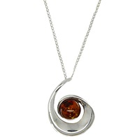 Goldmajor Sterling Silver Amber Spiral Pendant Necklace Amber