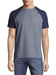 Vince Camuto Pima Cotton Blend Colorblock Tee Blue