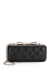 Saks Fifth Avenue Rose Floral Quilted Clutch Black