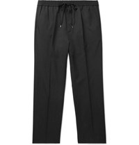 Gucci Charcoal Cropped Wool Drawstring Trousers Gray