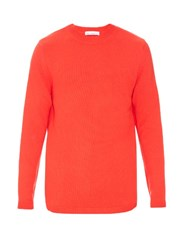 Raey Long Line Crew Neck Cashmere Sweater Red