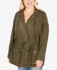 Lucky Brand Trendy Plus Size Military Jacket Military Olive
