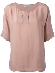 Humanoid Short Sleeve Blouse Pink Purple