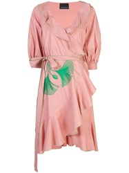 Cynthia Rowley Cleo Embroidered Wrap Dress Pink