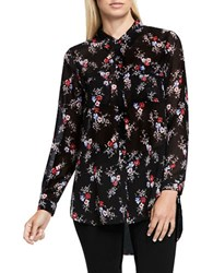 Vince Camuto Floral Print Button Down Tunic Rich Black