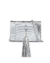 Nancy Gonzalez Small Tassel Crocodile Crossbody Bag Silver