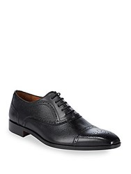 Massimo Matteo Brogued Leather Oxfords Black