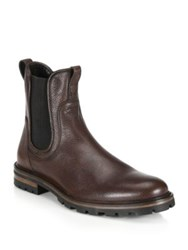 Aquatalia By Marvin K Pebbled Leather Chelsea Boots Dark Brown