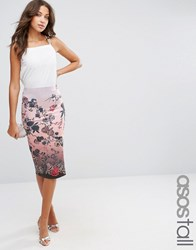 Asos Tall Pencil Skirt In Scuba Floral Print Multi