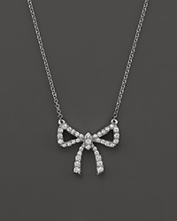 Bloomingdale's Diamond Bow Pendant Necklace In 14K White Gold .25 Ct. T.W.