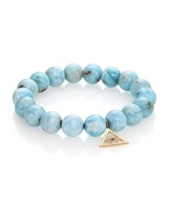Sydney Evan Diamond Sapphire Larimar And 14K Yellow Gold Pyramid Evil Eye Beaded Stretch Bracelet Blue Gold
