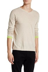 Zadig And Voltaire Finfer Long Sleeve V Neck Pullover Sweater Beige