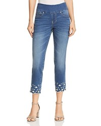 Jag Jeans Lewis Straight Floral Embroidered Ankle In Skydive