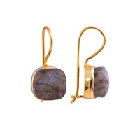 Juvi Designs Gold Vermeil Egadi Faceted Square Earrings Grey