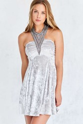 Kimchi And Blue Diamondette Velvet Babydoll Mini Dress Grey