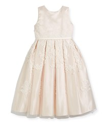 Joan Calabrese Satin Dress W Floral Embroidered Overlay Ivory