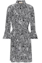 Michael Kors Collection Woman Zebra Print Silk Crepe De Chine Mini Shirt Dress Black