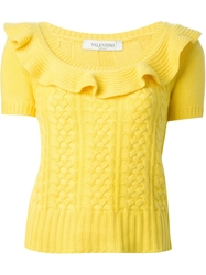Valentino Cable Knit Sweater Yellow And Orange
