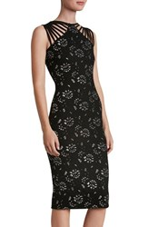 Dress The Population Women's Strappy Knit Midi Black Silver