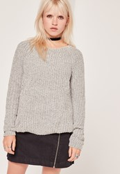 Missguided Cosy Chunky Knitted Jumper Grey