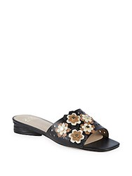 Zac Posen Nicole Floral Perforated Leather Slides Black