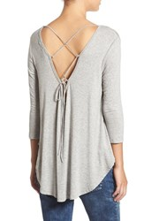 Lush Women's Lace Up Back Tee Heather Grey