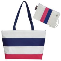 Hayden Reis Striped Ditty Tote Bag Berry And Navy