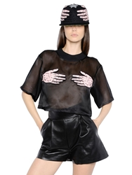 Atelier Vlisco Silk Organza Crop Top With Hand Patches Black