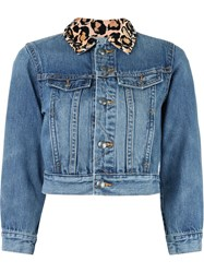 Marc By Marc Jacobs Leopard Collar Cropped Denim Jacket Blue