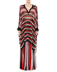 Missoni Long Sleeve Striped Poncho Pink Red Black White Pink Red Blk Wht