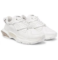 Valentino Garavani Bounce Suede Trimmed Leather Sneakers White