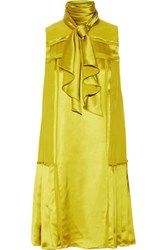 Oscar De La Renta Pleated Satin Twill Dress Chartreuse
