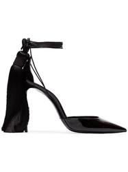 Saint Laurent Zoe 105 Tassel Heel Patent Leather D'orsay Pumps Black