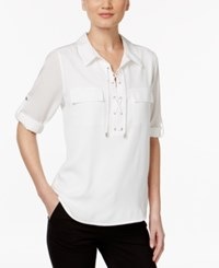 Calvin Klein Lace Up Roll Tab Blouse Soft White