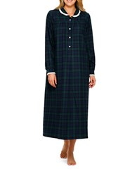 Lanz Plaid Cotton Flannel Ballet Nightgown Blue Green