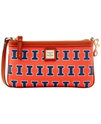 Dooney And Bourke Illinois Fighting Illini Large Slim Wristlet Orange