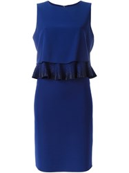 Armani Collezioni Ruffle Detail Dress Blue