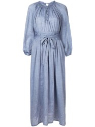 Cityshop Belted Button Down Dress Women Linen Flax One Size Blue