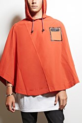 Forever 21 All Good Hooded Poncho Rust