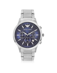 Emporio Armani Men's Blue Dial Stainless Steel Chrono Watch Silver