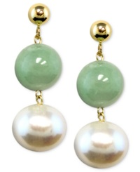 Macy's 14K Gold Earrings Cultured Freshwater Pearl And Jade