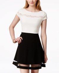 Teeze Me Illusion Cap Sleeve Fit And Flare Dress