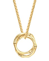 18K Gold Bamboo Link Pendant Necklace John Hardy Green