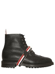 Thom Browne Belted Pebbled Leather Ankle Boots