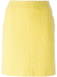 Chanel Vintage Boucle Knit Skirt Yellow And Orange