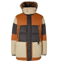 The North Face V Stok Faux Fur Trimmed Colour Block Quilted Shell Hooded Down Parka Brown
