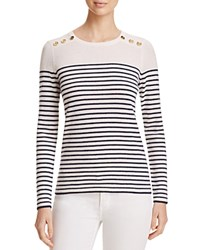Bloomingdale's C By Cashmere Nautical Sweater Snow Dark Navy