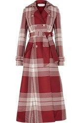 Gabriela Hearst Checked Wool Blend Trench Coat Red