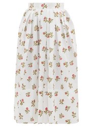 Thierry Colson Kirov High Rise Floral Print Cotton Midi Skirt White Print